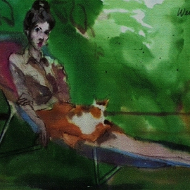 Woman With Cat On Lap