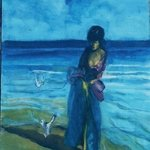 Woman  in Long Dress with Seagulls By Harry Weisburd