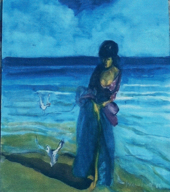 Harry Weisburd  'Woman  In Long Dress With Seagulls', created in 2010, Original Pottery.