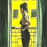 Woman in Black Dress on Balcony By Harry Weisburd