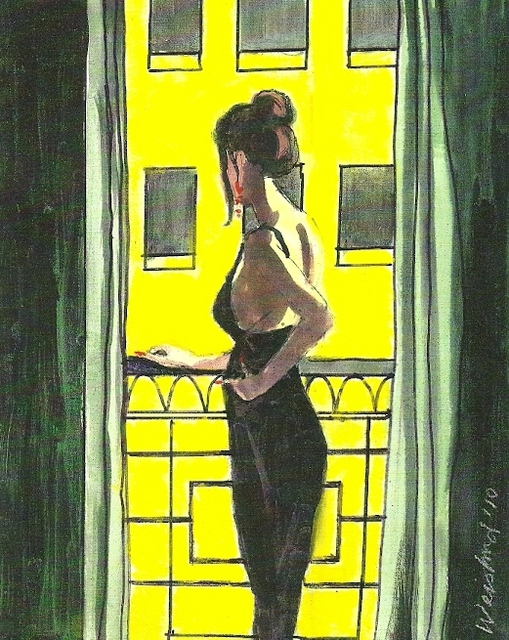 Harry Weisburd  'Woman In Black Dress On Balcony', created in 2010, Original Pottery.