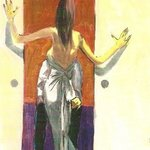 Woman in Gown by French Doors By Harry Weisburd