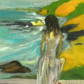 Woman in Sheer Dress By The Sea