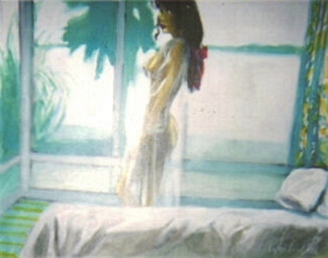 Harry Weisburd  'Woman In White Lingerie By Window', created in 2008, Original Pottery.