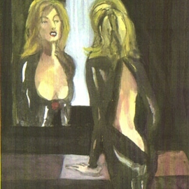 Woman looking in mirror with Backless Black Silk Dress  By Harry Weisburd