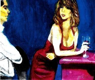 Harry Weisburd: 'bar fly in red dress', 2018 Watercolor, Figurative. Artist Description: Woman looking for love and romance , happy hour ...