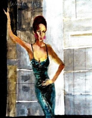 Harry Weisburd Artwork blue dress cityscape, 2015 Watercolor, Figurative