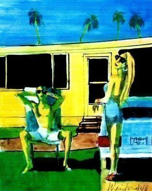 Harry Weisburd: 'california dreamin', 2016 Watercolor, Figurative. Artist Description: Sun, Car Palm Trees, House , the GOOD LIFE  Welcome to California, Gold in the street . Home to the Movie Star Tans , swimming pools ...