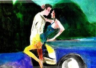 Harry Weisburd: 'car romance', 2019 Watercolor, Figurative. Love and Romance on hood of a car ...
