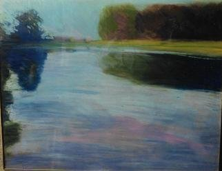 Harry Weisburd: 'double reflections', 2014 Pastel, Abstract Landscape. Artist Description: Double Reflection, pastel, seascape, riverscape, lakescape, reflection of trees in the water ...