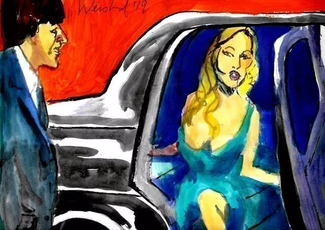 Harry Weisburd: 'exiting car', 2019 Watercolor, Figurative. Sensual woman exiting car ...
