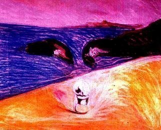 Harry Weisburd: 'face of spirit homage dali', 2015 Pastel, Figurative. Artist Description: 3 figures on the beach with Face of Spirit  oversees all, Homage to Dali ...