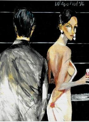 Harry Weisburd: 'happy hour 35', 2016 Watercolor, Love. Artist Description: Woman looking for love and romance at Happy Hour ...