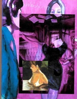 Harry Weisburd: 'happy hour black dress', 2019 Watercolor, Figurative. Figurative Abstraction Happy Hour woman in black dress collage of nude ...