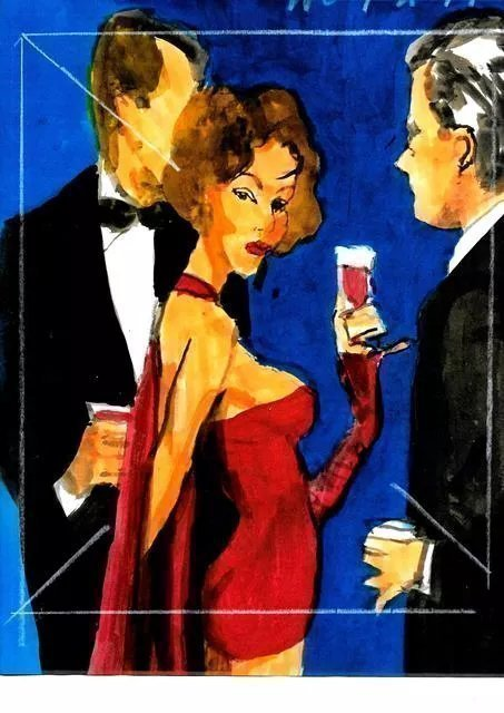 Harry Weisburd: 'happy hour red cape dress', 2019 Watercolor, Love. Happy Hour Love and Romance  Sensual Woman in Red Cape Dress...