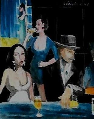 Harry Weisburd Artwork homage to manet au cafe, 2017 Watercolor, Figurative