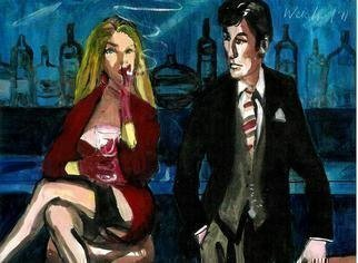 Harry Weisburd: 'looking for mr right 27', 2011 Watercolor, Love. Artist Description: Man and sensual, sexy woman looking for love and romance at Happy Hour...