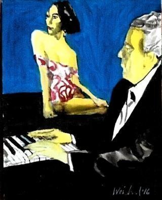 Harry Weisburd Artwork pianist and muse, 2016 Watercolor, Figurative