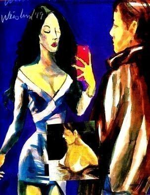 Harry Weisburd: 'selfiewith red iphone', 2019 Watercolor, Figurative. Selfie With Red iPhone  Figurative Abstractin ...