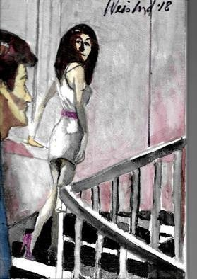 Harry Weisburd: 'stairway to heaven 5', 2018 Watercolor, Love. Man looking a sensual woman walking up stairway to Heaven ...