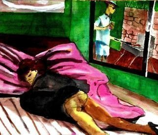 Harry Weisburd: 'sunday barbeque', 2013 Watercolor, Figurative. Artist Description: Sunday , woman sleeping man barbeque outside ...