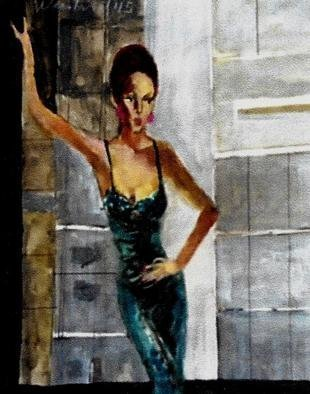 Harry Weisburd: 'woman in blue by window', 2015 Watercolor, Fashion. Woman in blue dress , by window looking out on building...