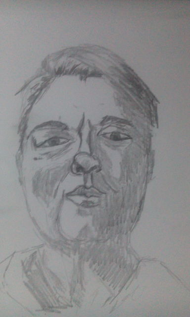 Ervin Weiss  'Face', created in 2020, Original Drawing Crayon.