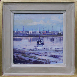 David Welsh: 'Boats off Hayling Island 2', 2013 Oil Painting, Boating. Artist Description:  paintings of boats, boats, paintings of Hayling Island, Hayling Island, beach, beach paintings  ...