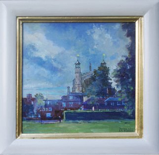Artist: David Welsh - Title: Eton Chapel, stormy sky - Medium: Oil Painting - Year: 2013