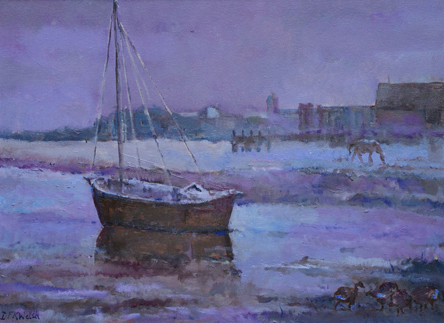 David Welsh  'Norfolk Boat', created in 2013, Original Painting Oil.