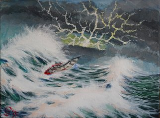 Wendy Goerl: 'Caught Abeam', 2015 Acrylic Painting, Marine. A sailboat running home picks the wrong time to tack as a big wave comes along. Gallery- wrap for frame- free display.   ...