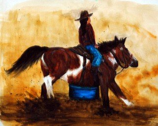 Wendy Goerl: 'Ponys Turn', 2014 Watercolor, Western. Artist Description:  Gal and her pony taking a turn around the barrel at a fun show. Matted and ready for 8x10