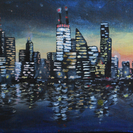 Wendy Goerl: 'Twitown', 2014 Acrylic Painting, Scenic. Artist Description:  Tthough the central building is vaguely based on the John Hancock Center, I've made no attempt do depict a particular skyline. Gallery- wrap canvas painted all around for frameless display. ...