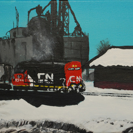 Wendy Goerl: 'Winter Warmup', 2011 Acrylic Painting, Trains. Artist Description:   Canadian National engine 5344 idles while its crew has a break in the depot. On back- stapled stretched canvas for display with or without frame. ...