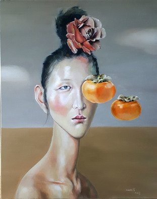 Wenli Liu: 'leaving persimmons', 2019 Oil Painting, Figurative. Artist Description: Having been a journalist for many years gave me the unique opportunity to meet so many people and friends. Observing their life journeys and understanding their struggles has made me recognize how the temptations in life can be a distraction from reaching true happiness and inner peace.By ...