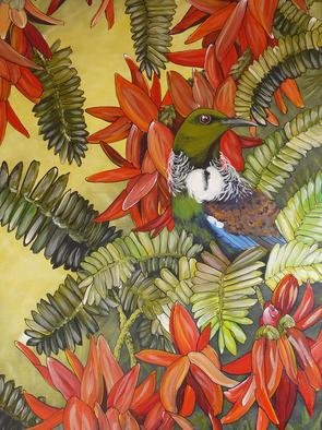 Janine Westbury: 'New Zealand Native Tui and kaka beak flowers', 2009 Acrylic Painting, nature.  Original acrylic on boxed canvas. Lovely vibrant and detailed painting.Can also be taken off the frame and posted in a tube for affordable postage.  Then just have re framed.www. westburyart. vc. ne. nz ...