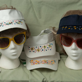 Painted Sun Visors, Louise Peacock