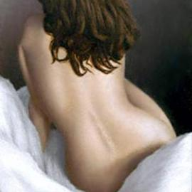 Ward George: 'Dawn on White Fur', 1992 Oil Painting, Nudes.