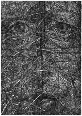 Wieslaw Haladaj: 'APPEARANCE24', 2013 Linoleum Cut, Abstract Figurative. Artist Description:     BLACK AND WHITE    ...