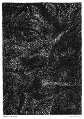 Wieslaw Haladaj: 'APPEARANCE4', 2004 Linoleum Cut, Abstract Figurative. Artist Description:   BLACK AND WHITE  ...