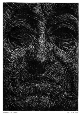Wieslaw Haladaj: 'APPEARANCE5', 2004 Linoleum Cut, Abstract Figurative. Artist Description:    BLACK AND WHITE   ...