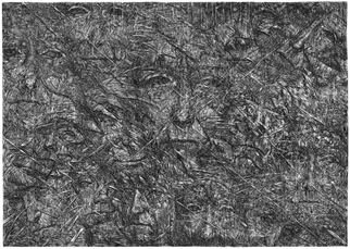 Wieslaw Haladaj: 'APPEARANCES2', 2013 Linoleum Cut, Abstract Figurative.       BLACK AND WHITE      ...