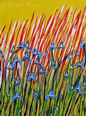 Acrylic Painting by David Hardy titled: Irises, 2010