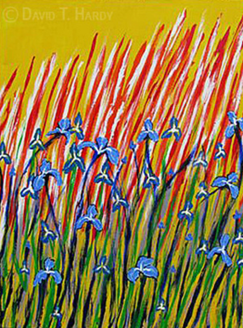 David Hardy  'Irises', created in 2010, Original Painting Acrylic.