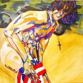 Shannon Russell: 'DUDE', 2006 Oil Painting, Figurative. Artist Description: SURFER ON BEACH WITH MOTORCYCLE...