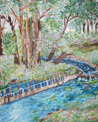 Landscape Acrylic Painting by Tina Abrahamsen Title: the river, created in 2009