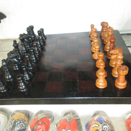 Chess table made with ebony wood
