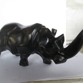 Dimitri Sonkeng Artwork Rhinoceros made with ebony wood, 2015 Wood Sculpture, Undecided