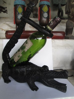 Dimitri Sonkeng Artwork Wine holder crocodile, 2015 Wood Sculpture, undecided