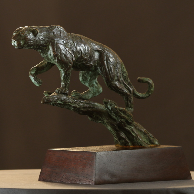 Willem Botha  'Stalking Leopard', created in 2019, Original Sculpture Bronze.